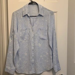 baby blue button down shirt with floral print